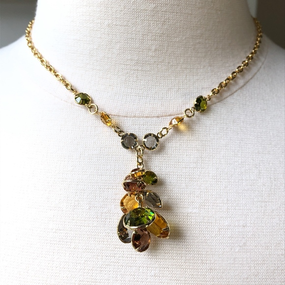 0fd959c6b756e Stacked Crystal Chandelier Pendant Necklace